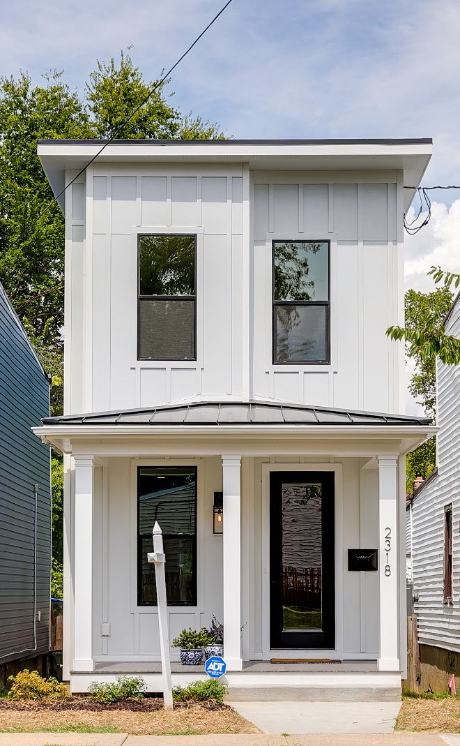 Narrow Lot Modern Farmhouse is part of Modern farmhouse exterior, Narrow lot house plans, Farmhouse exterior, Narrow house plans, Narrow lot house, White exterior paint - We often see TV shows transforming homes that are falling apart into dream homes, but that's not so hard to do when you have a big team working against the time to show the beautiful r…