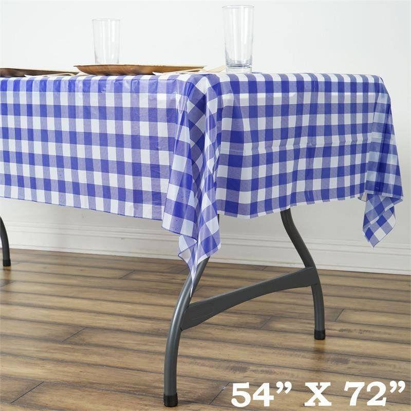 Buffalo Plaid Tablecloth 54 X 72 Rectangular White Black Disposable Checkered Plastic Vinyl Tablecloth Plastic Table Covers Picnic Table Covers Plastic Tables
