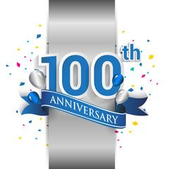 100th Anniversary Logo With Silver Label And Blue Ribbon Balloons