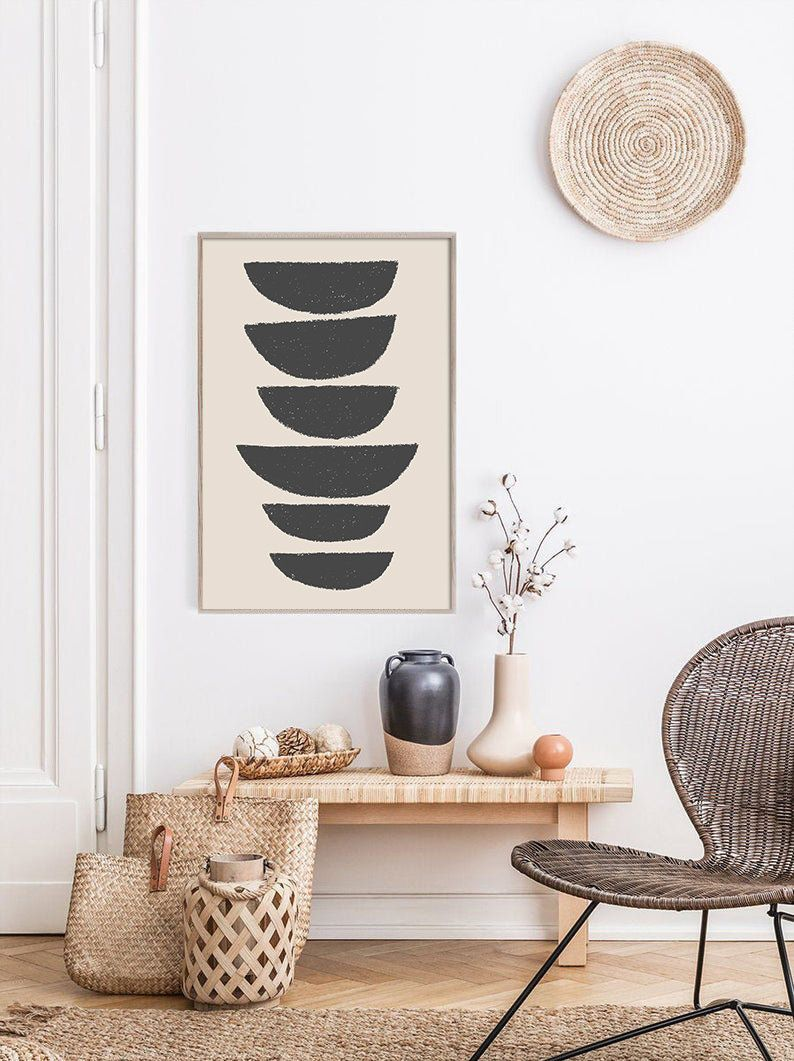 Mid Century Line Art, Black Geometric Print, Modern Abstract Art, Abstract Wall Art, Minimalist Print, Living Room Wall Art, Wall Decor