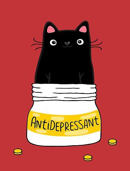'FUR ANTIDEPRESSANT . Cute black cat illustration.
