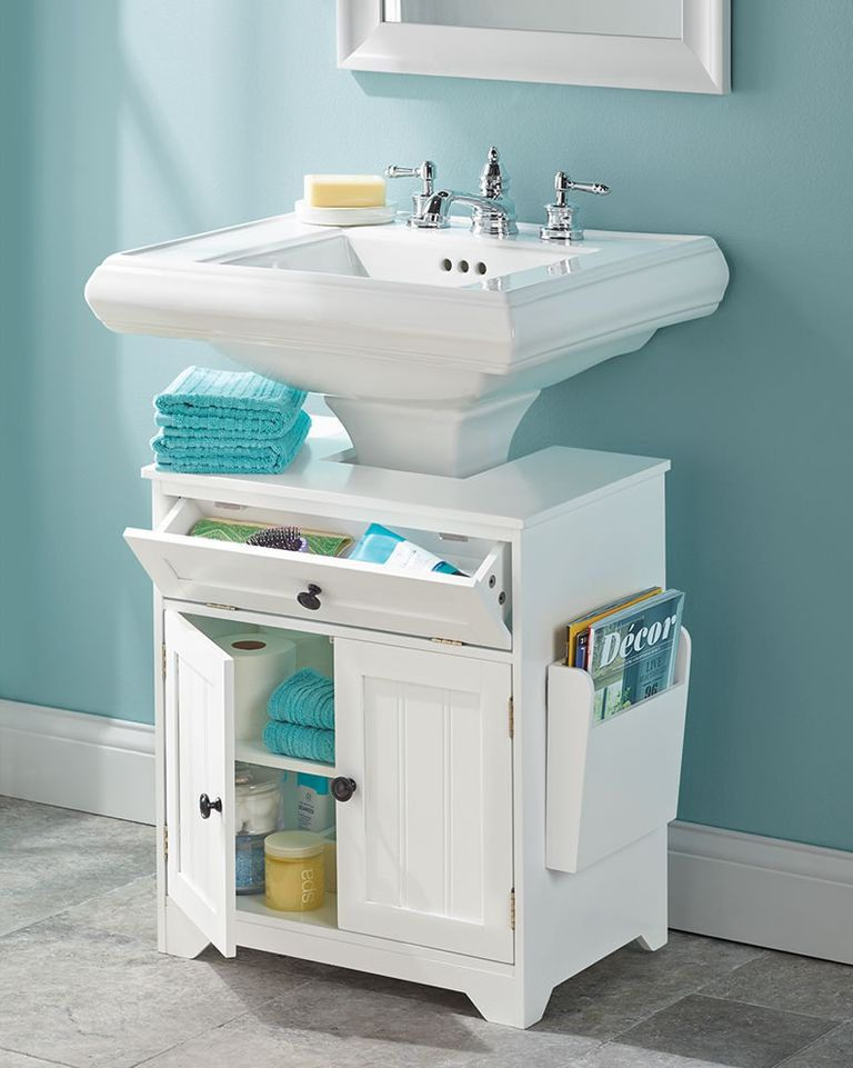 15 Genius Under Sink Organizers Your Bathroom And Kitchen Needs Pedestal Sink Storage Small Bathroom Storage Sink Storage