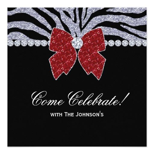 Christmas Party Zebra Red Silver Jewel Bow Heart Personalized Invite