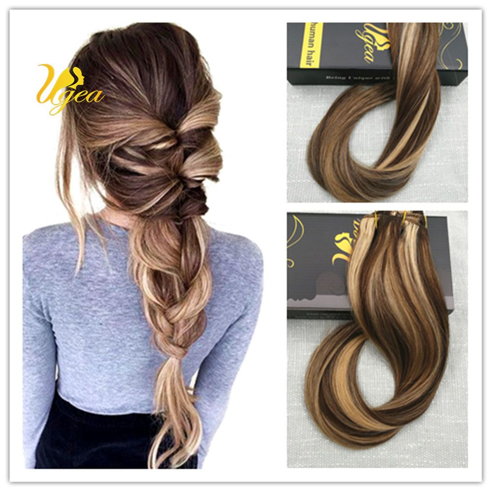 8a Balayage Highlight Clip In 100 Real Human Hair Extensions Gloden