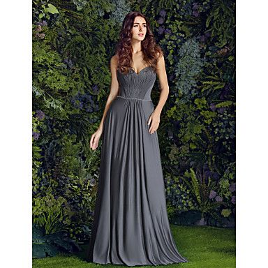 Floor-length Jersey Bridesmaid Dress - Silver Plus Sizes / Petite Sheath/Column Sweetheart – CAD $ 125.09