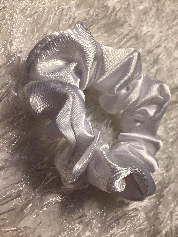 White Satin Scrunchie Aesthetic Hair Tie Cute Hair