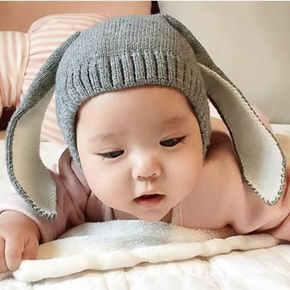 a0a62f4a7e6 Click to Buy    Baby Big Long Rabbit Ears Knitted Hat Infant Spring ...