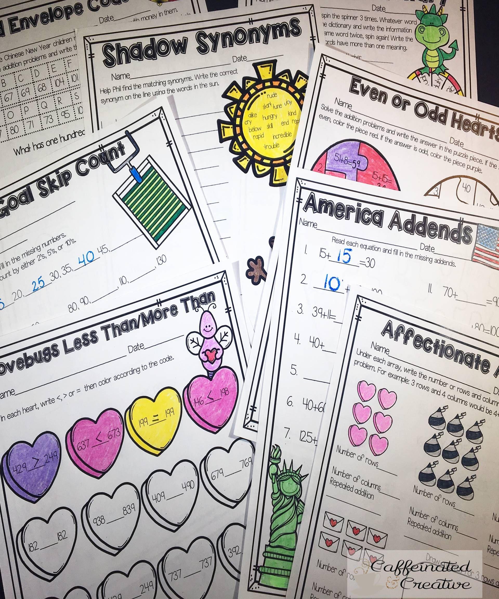 February Literacy And Math No Prep Second Grade