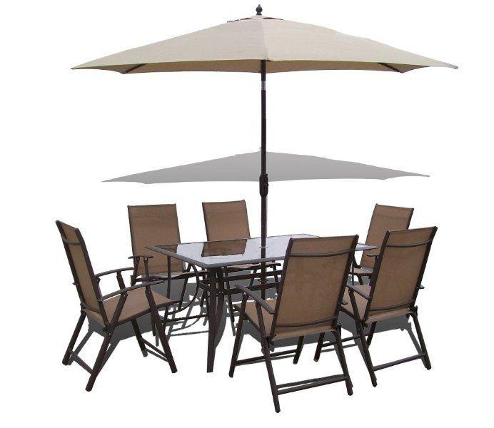 8 Piece Santorini Garden And Patio Set  6 Chairs Table Tilt And Crank  Parasol:Amazon.co.uk:Garden U0026 Outdoors