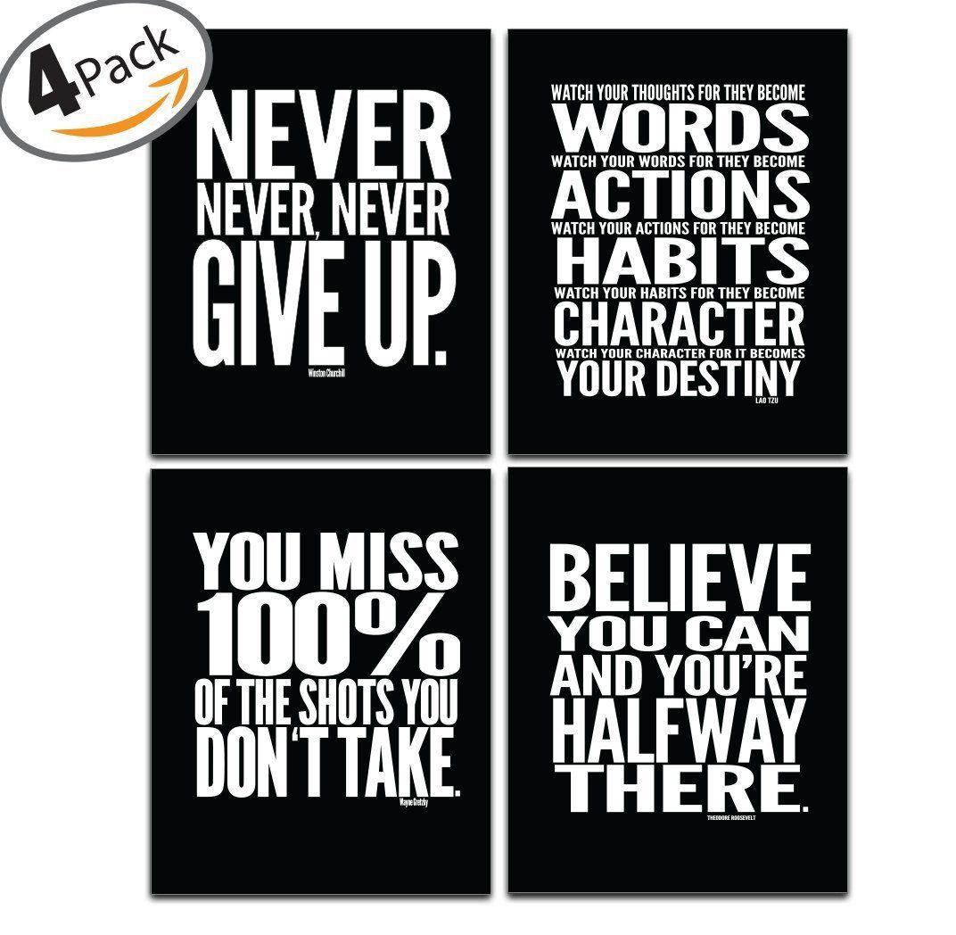 Amazon Com Motivational Poster 8 X 10 Set Of 4 Inspirational Quotes Quote Wall Inspirational Quotes Wall Art Wall Decor Quotes Classroom Motivation