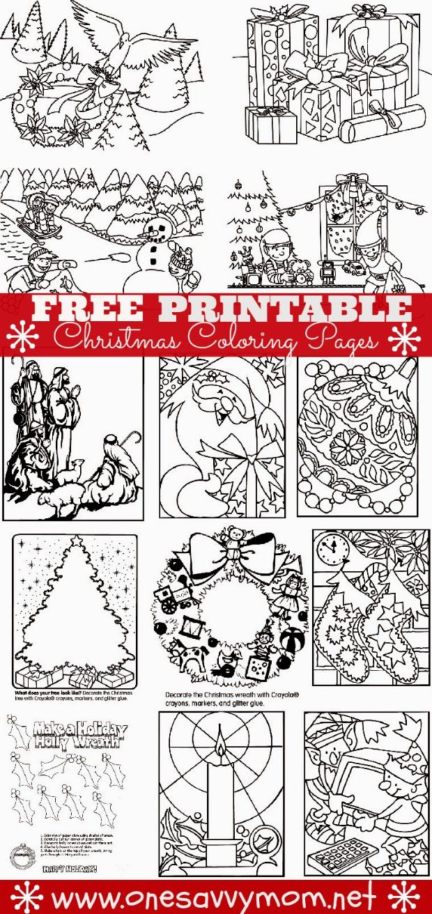 free printable christmas holiday coloring pages print at one savvy mom