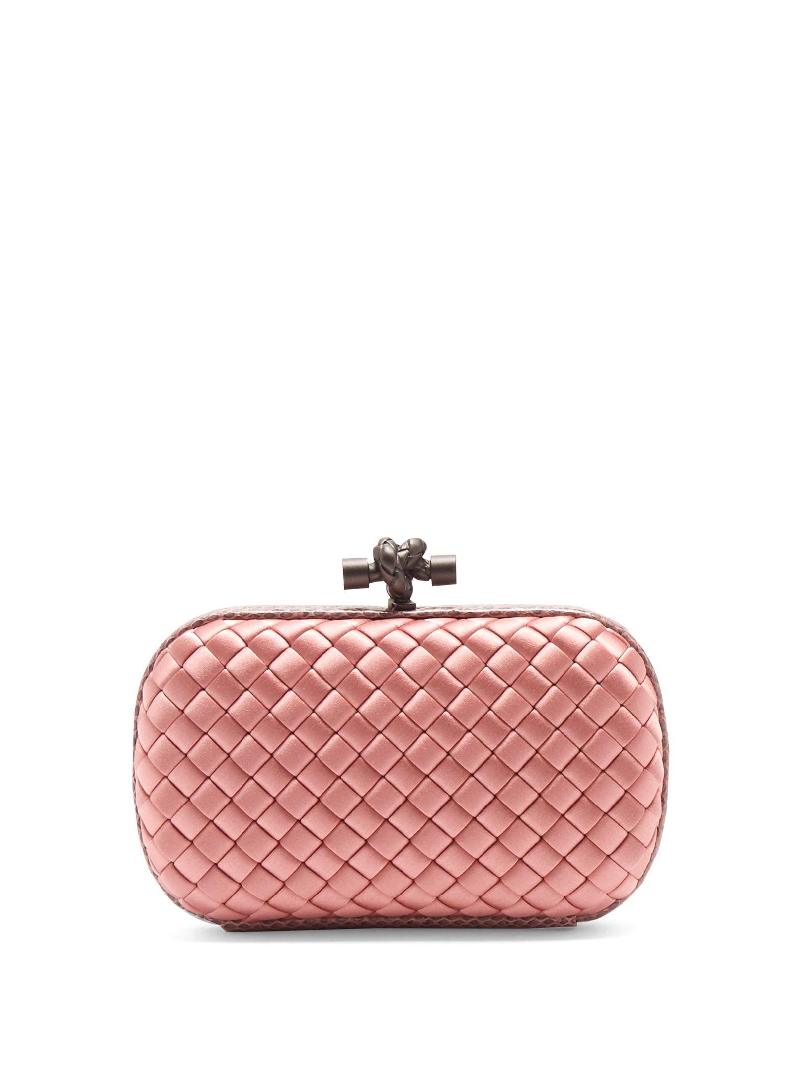 51258b033ed4 Click here to buy Bottega Veneta Knot satin and water-snake clutch ...