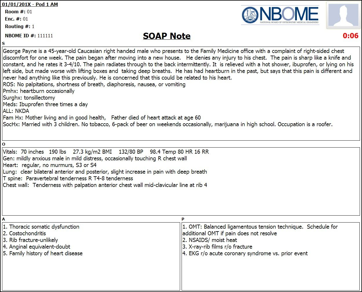 Completed Esoap Note Sample — Nbome in Soap Report