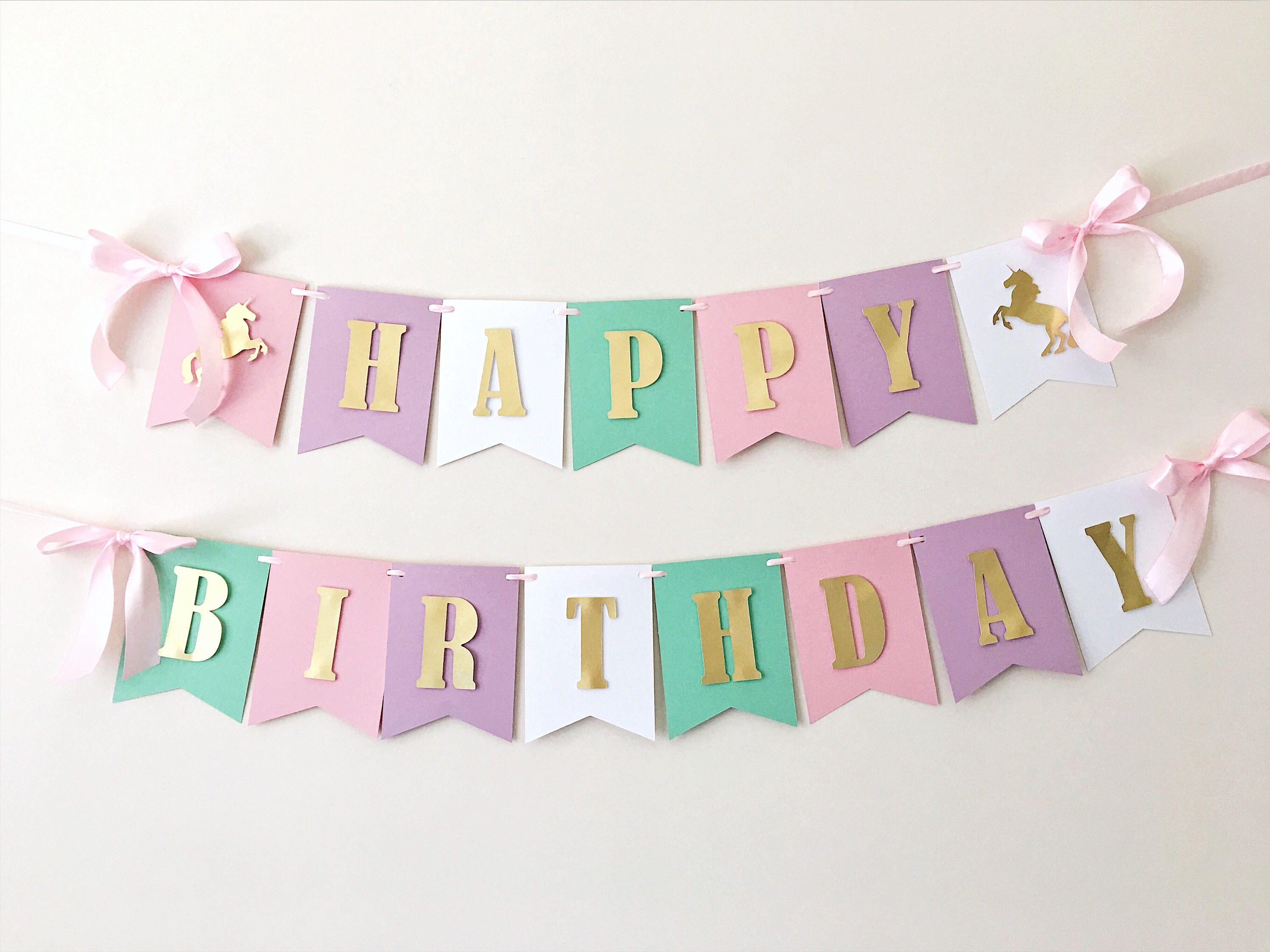 Unicorn Birthday Banner: Unicorn Birthday Banner Unicorn Girl 1st Birthday