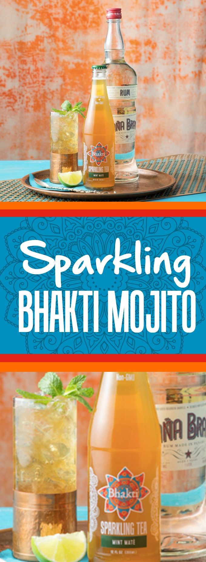 Chill out this Memorial Day with a Sparkling Bhakti Mojito made with our refreshing Mint Mate and a squeeze of sour lime spiked with rum!