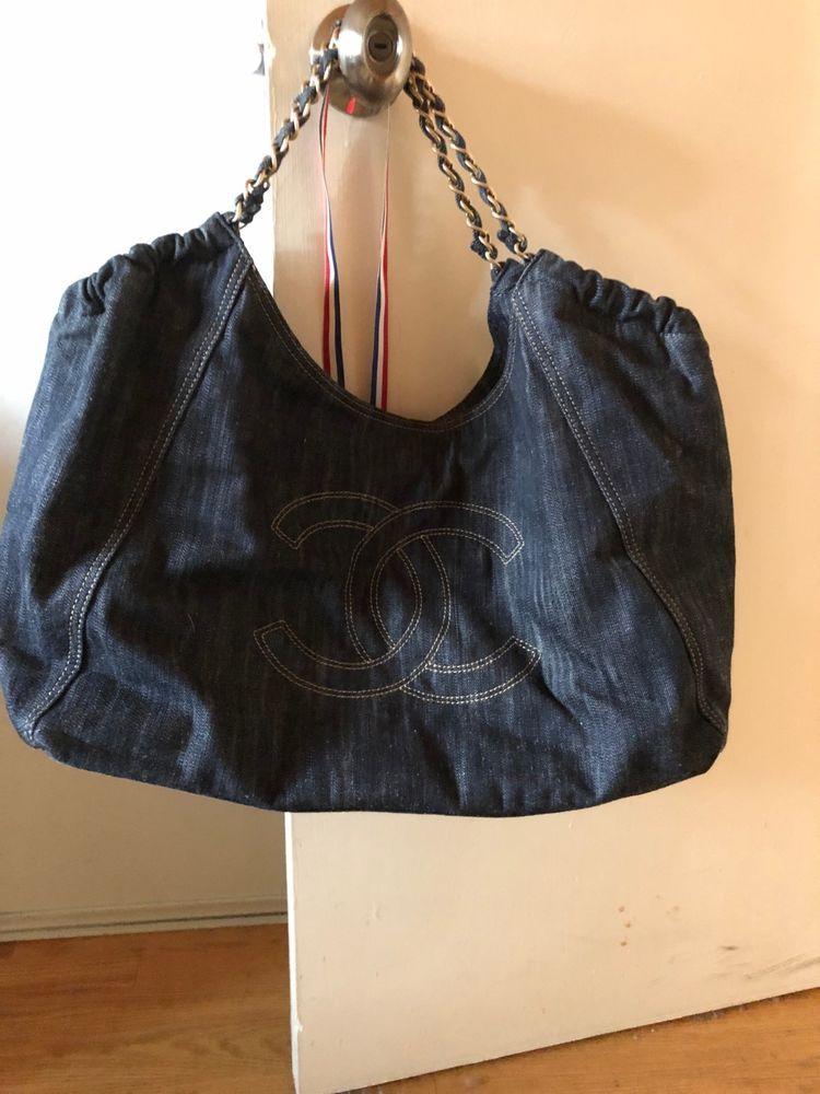 7460f0f9f Chanel Coco Cabas Tote / Shoulder Bag- Quilted Chanel CC- Dark Denim ...
