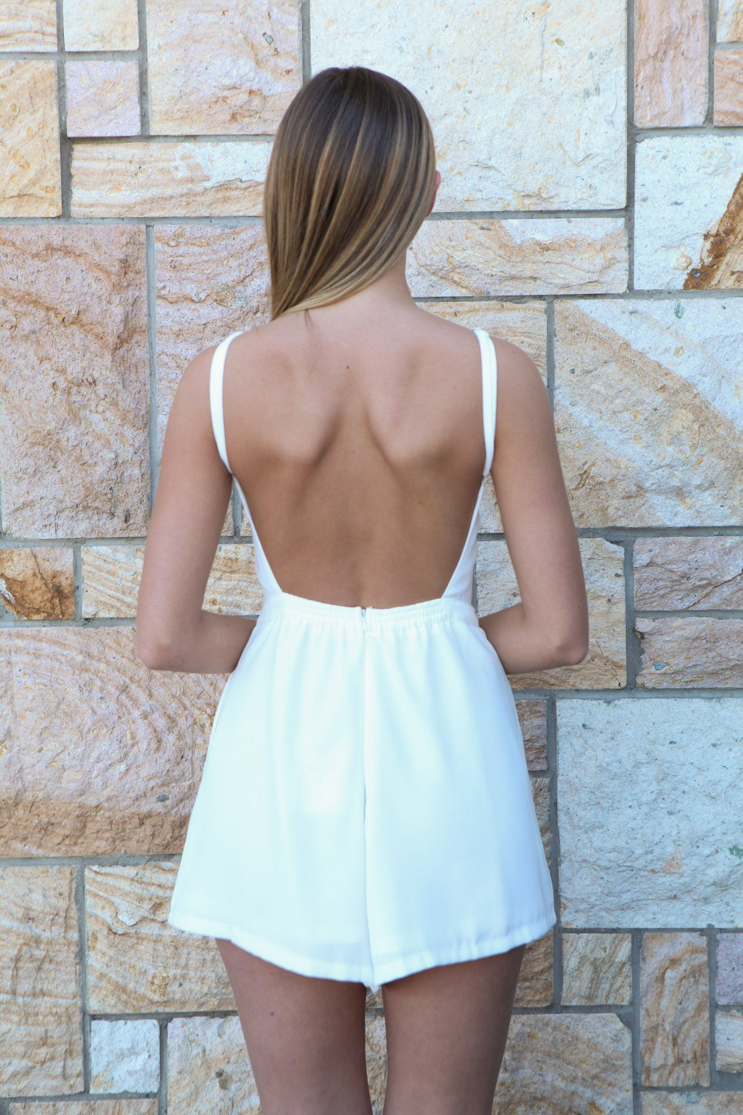 White Backless Playsuit #romper