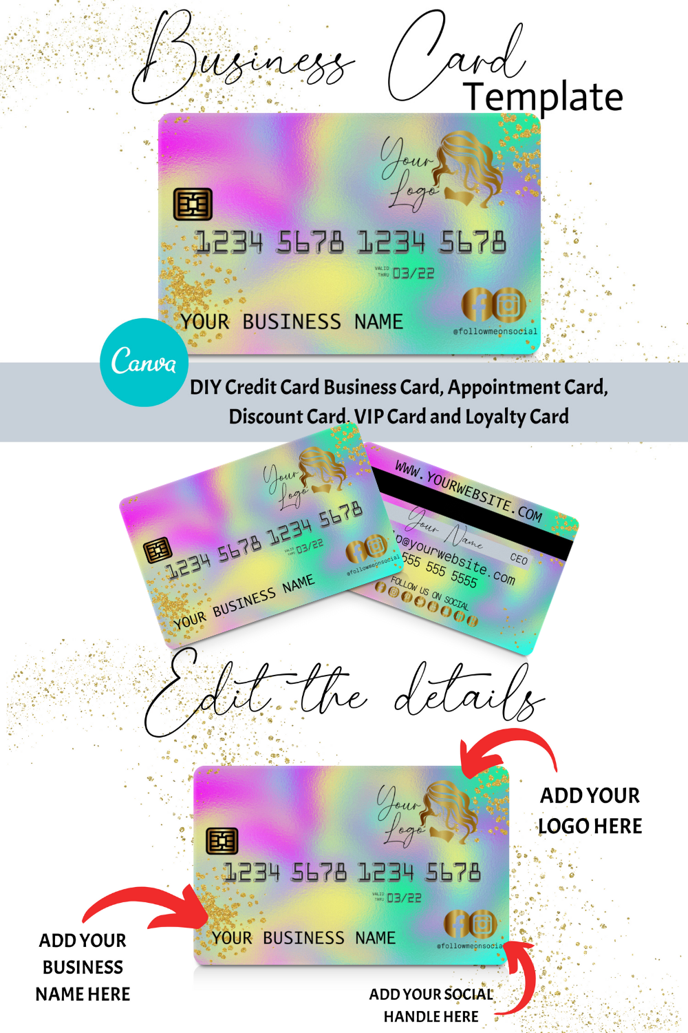 Diy Holographic Credit Card Business Cards Canva Template Business Card Design Appointment Card Loyalty Card Instant Access Credit Card Design Business Card Inspiration Business Credit Cards
