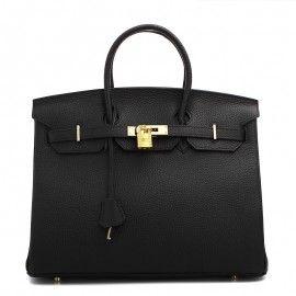 7851fb71ce35 Rosaire « Beaubourg » Genuine Cowhide Full Grain Leather Top Handle Bag  Padlock in Black