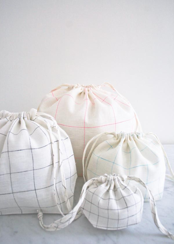 Easy Drawstring Bags in Linen Grid | Purl Soho | zero waste product ...