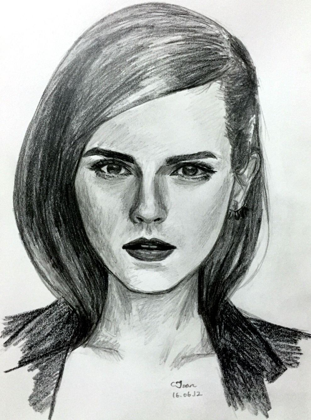 Emma watson sketching art drawings sketches drawing people
