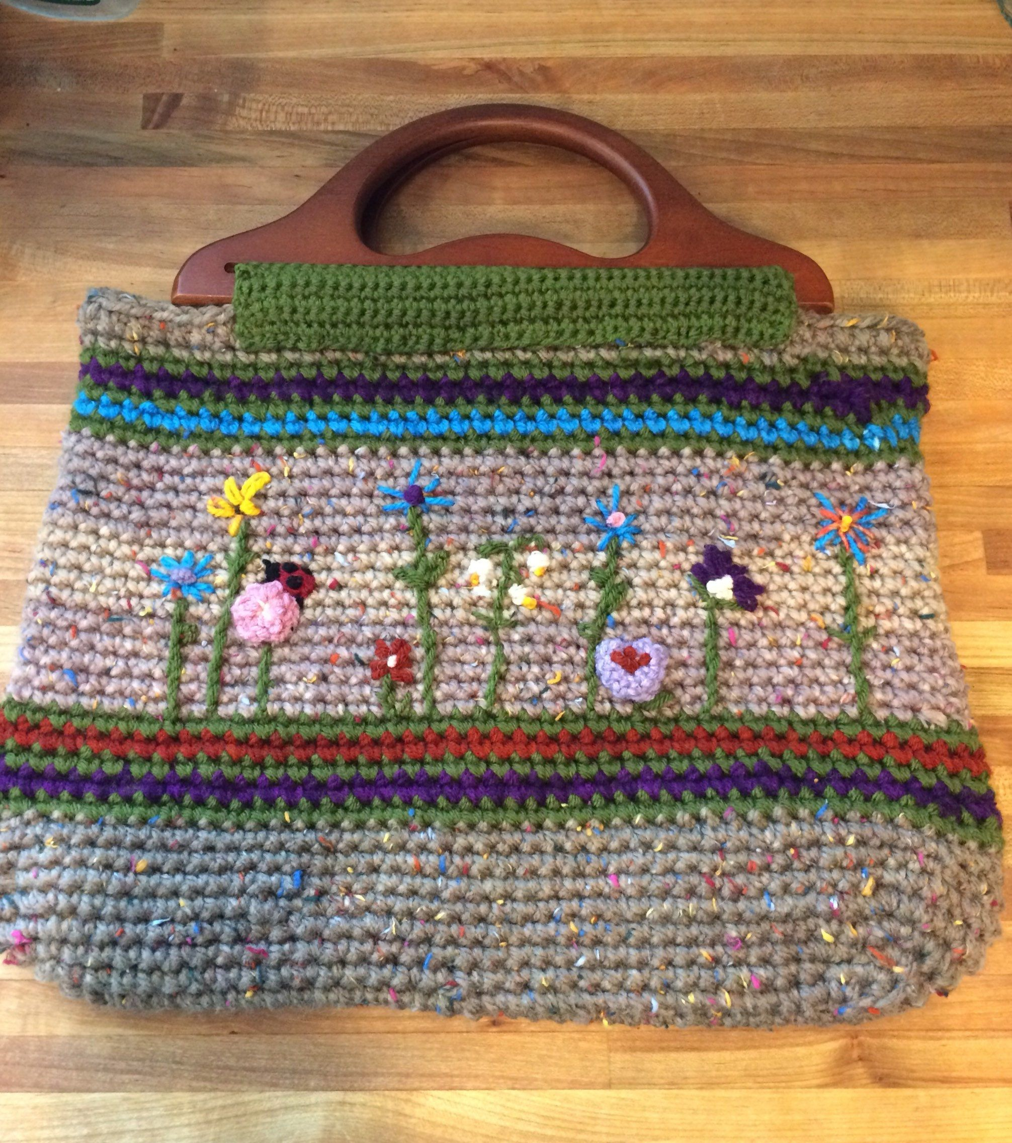 Crocheted Market Bag With Wood Handles And Embroidered Spring Flowers Great Everyday Purse Or Crochet Project Bag Crochet Market Bag Crochet Tote Bag Hand Crochet