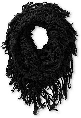 D&Y Black Fringe Knit Infinity Scarf