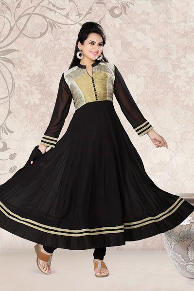 USD 94.47 Black Lace Work Anarkali Salwar Suit     34079