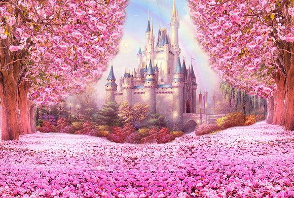 Painel Castelo com flores 3x2m no Elo7 | Mine Decor Painéis Sublimados  (9C23A4) | Painel para festa, Painel de aniversario, Castelo da fantasia