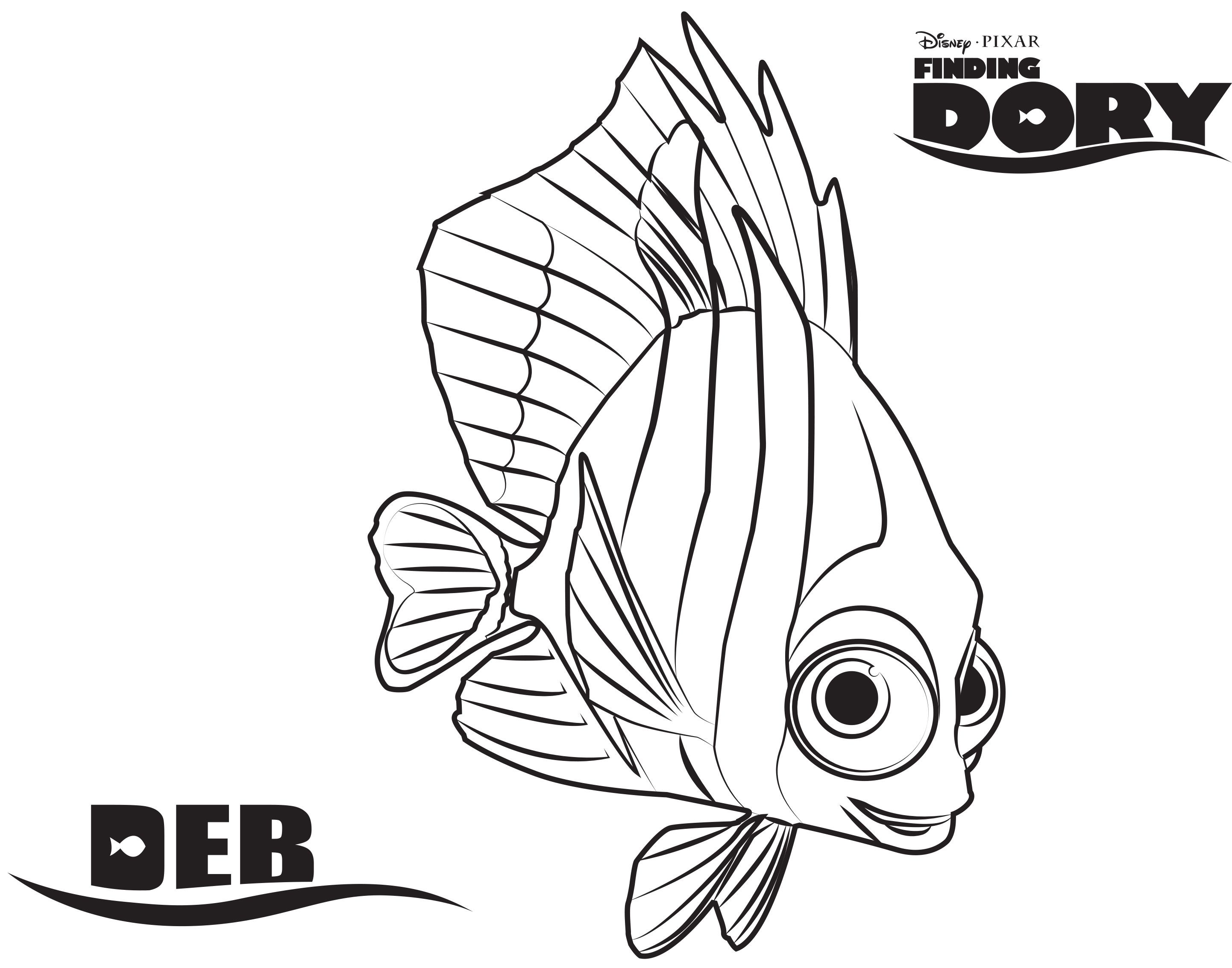 Deb Finding Dory Printable Coloring Page Finding Nemo Coloring