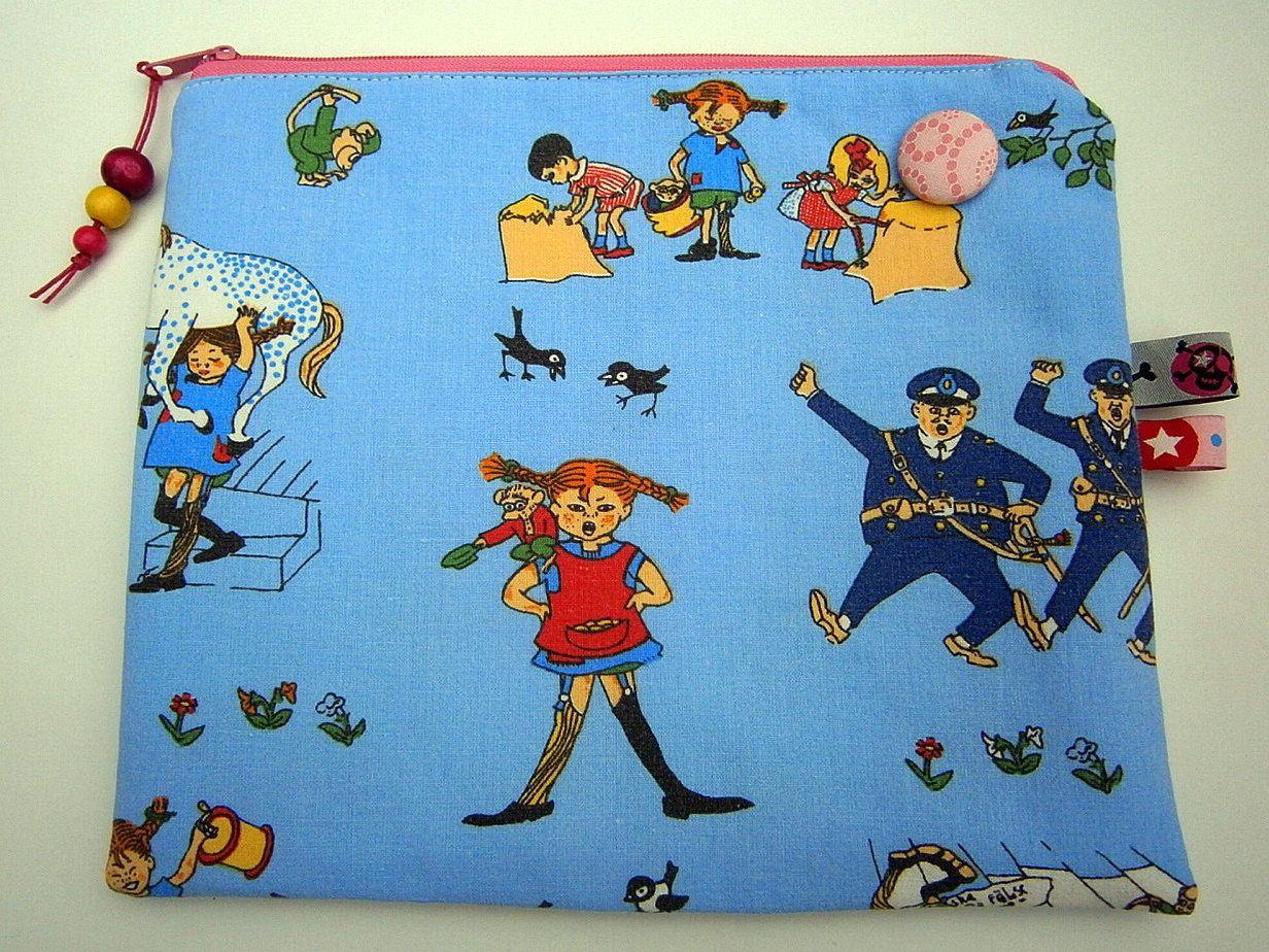 Pippi Langstrumpf Und Freunde, Vintage Tasche, 70 Er Jahre Stoff,  Schweden,blau