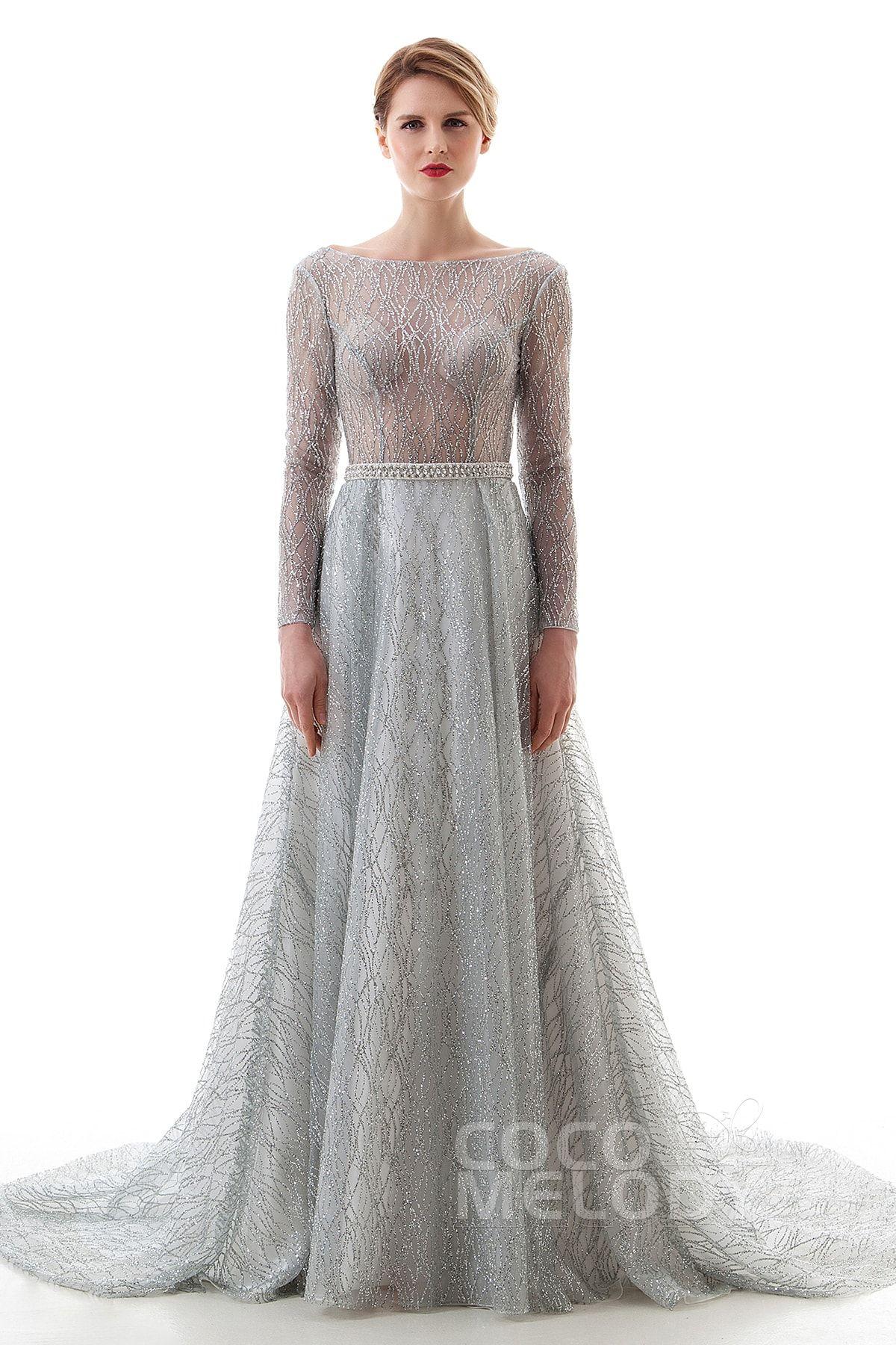 [ USD 549 ] SheathColumn Court Train Lace Gothic Wedding