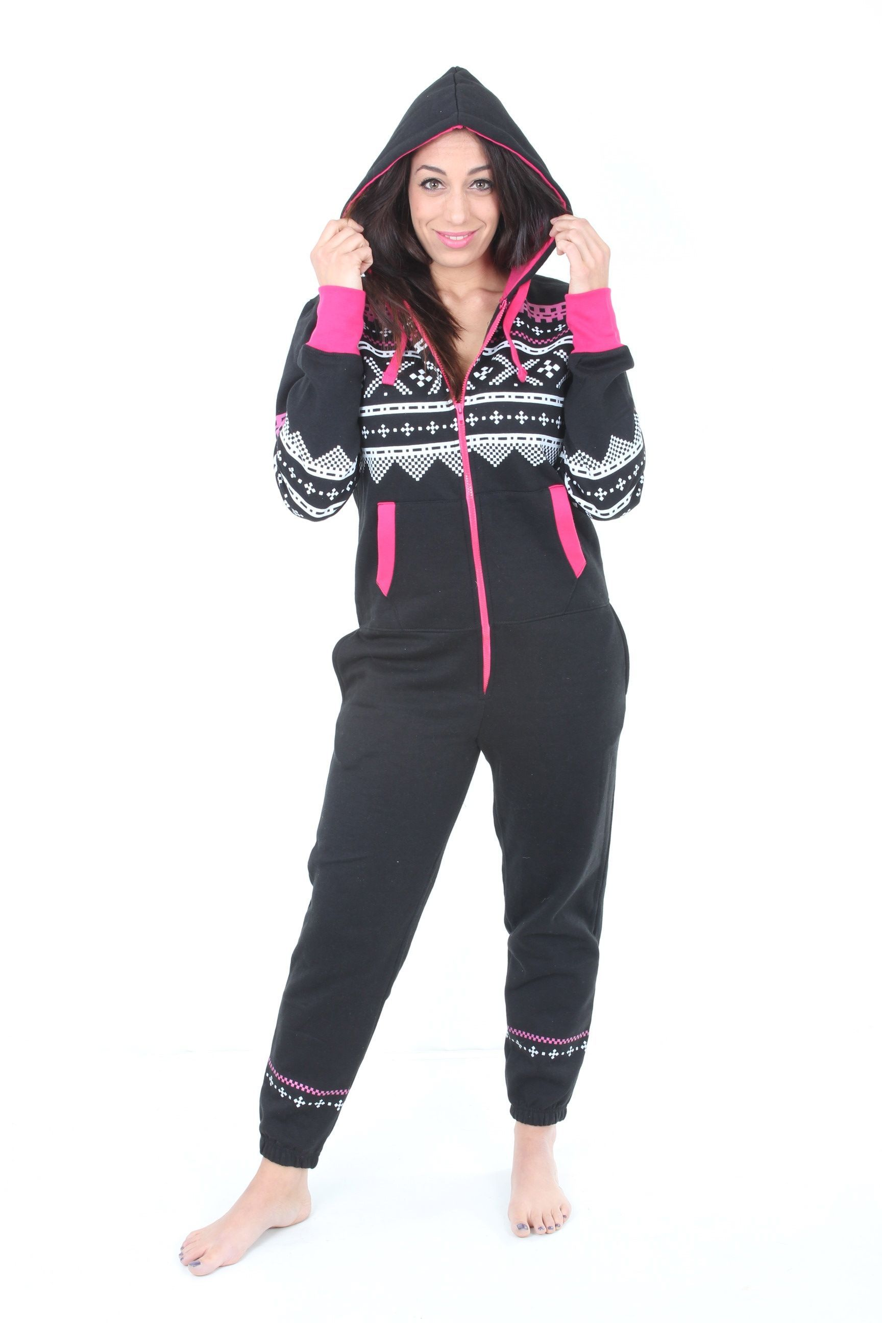 988eb3de77 UNISEX WOMENS MENS BLACK PINK AZTEC PRINT ADULT ONESIE ALL IN ONE PIECE SUIT