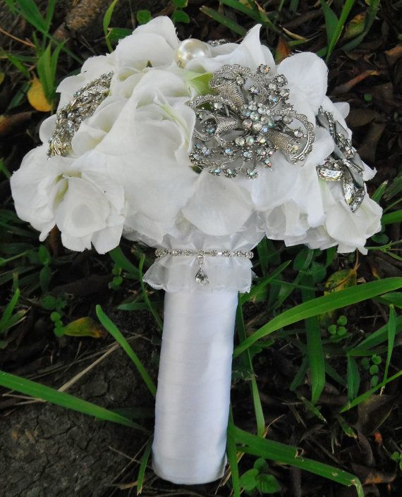 Winter Wedding White Bridal Bouquet with Silver by AngelicasBridal, $160.00