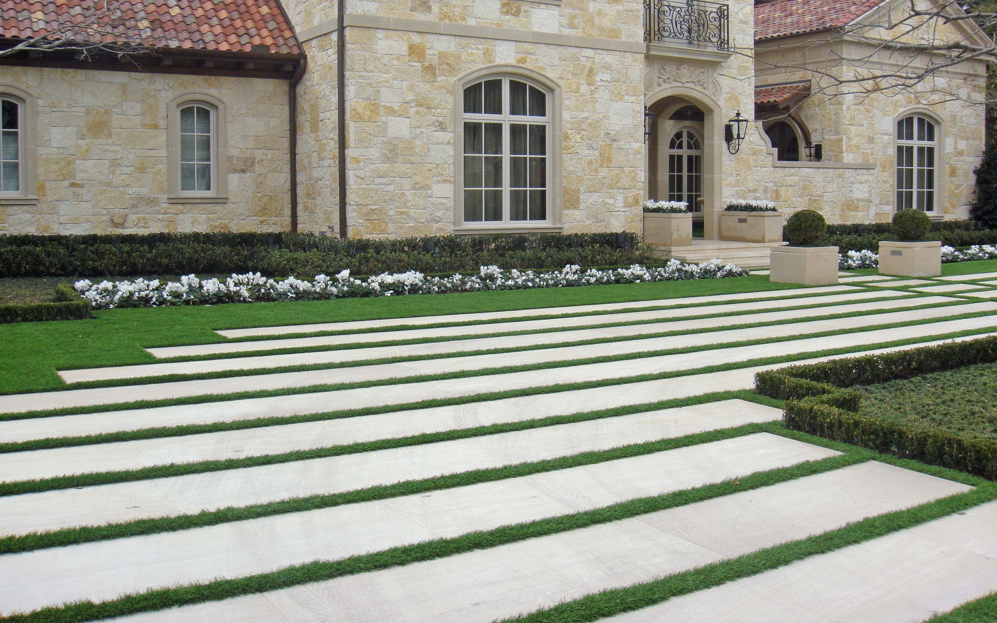 Driveway Large Linear Stone Bands With Grass Spacing