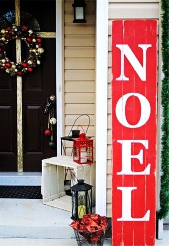 Christmas easy DIY noel sign, 2015 Christmas outdoor red wooden noel sign, Christmas home decor idea