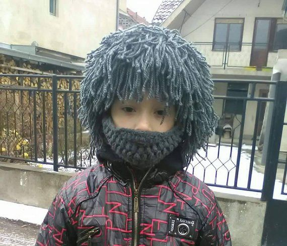Kid's Grey wig Hair hat Wig Beanie with Beard Crochet beard beanie Yarn hair hat Crazy festival Gift Reggae Style Cap Knit wig Wild man wig #crochetedbeards