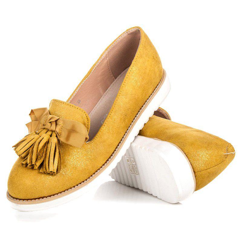 Vices Zamszowe Lordsy Z Fredzlami Zolte Shoes Slippers Moccasins