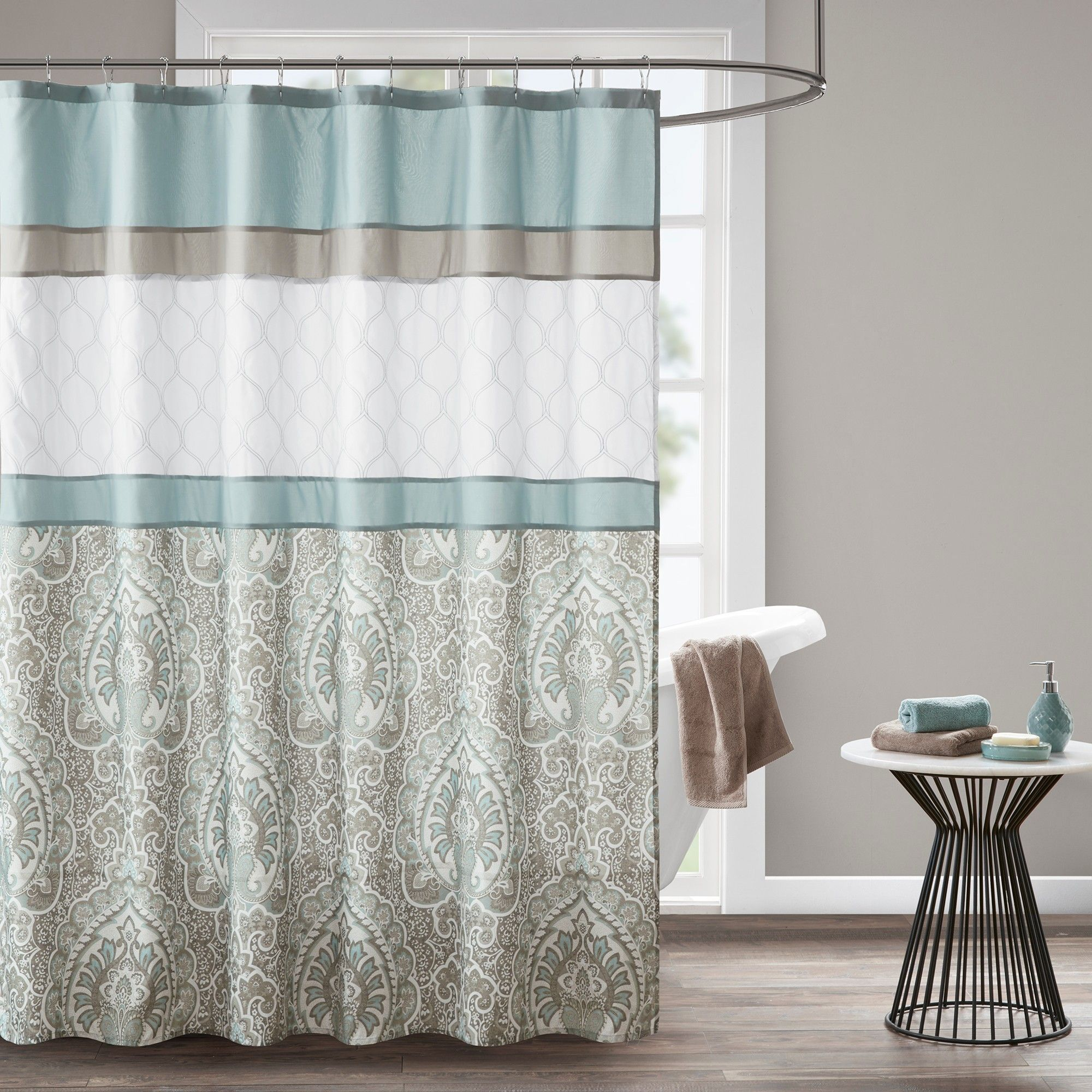 Stacie printed embroidered shower curtain blue shower curtain blue