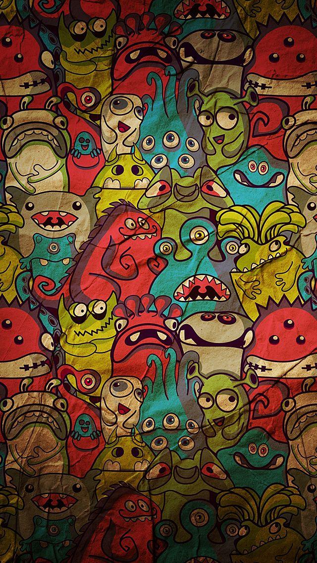 Cartoon Monster Iphone 5 Wallpaper Crazy Wallpaper Graffiti Wallpaper Android Wallpaper Cartoon art wallpaper hd
