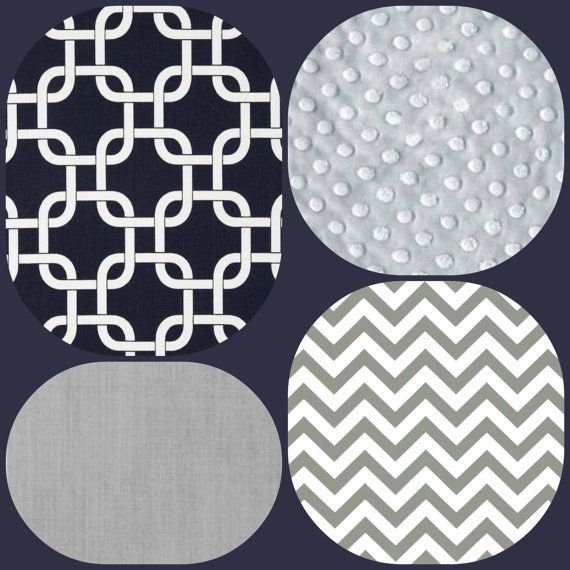 Navy Gray Chevron Geometric Baby Crib Bedding By Ziggetyzag