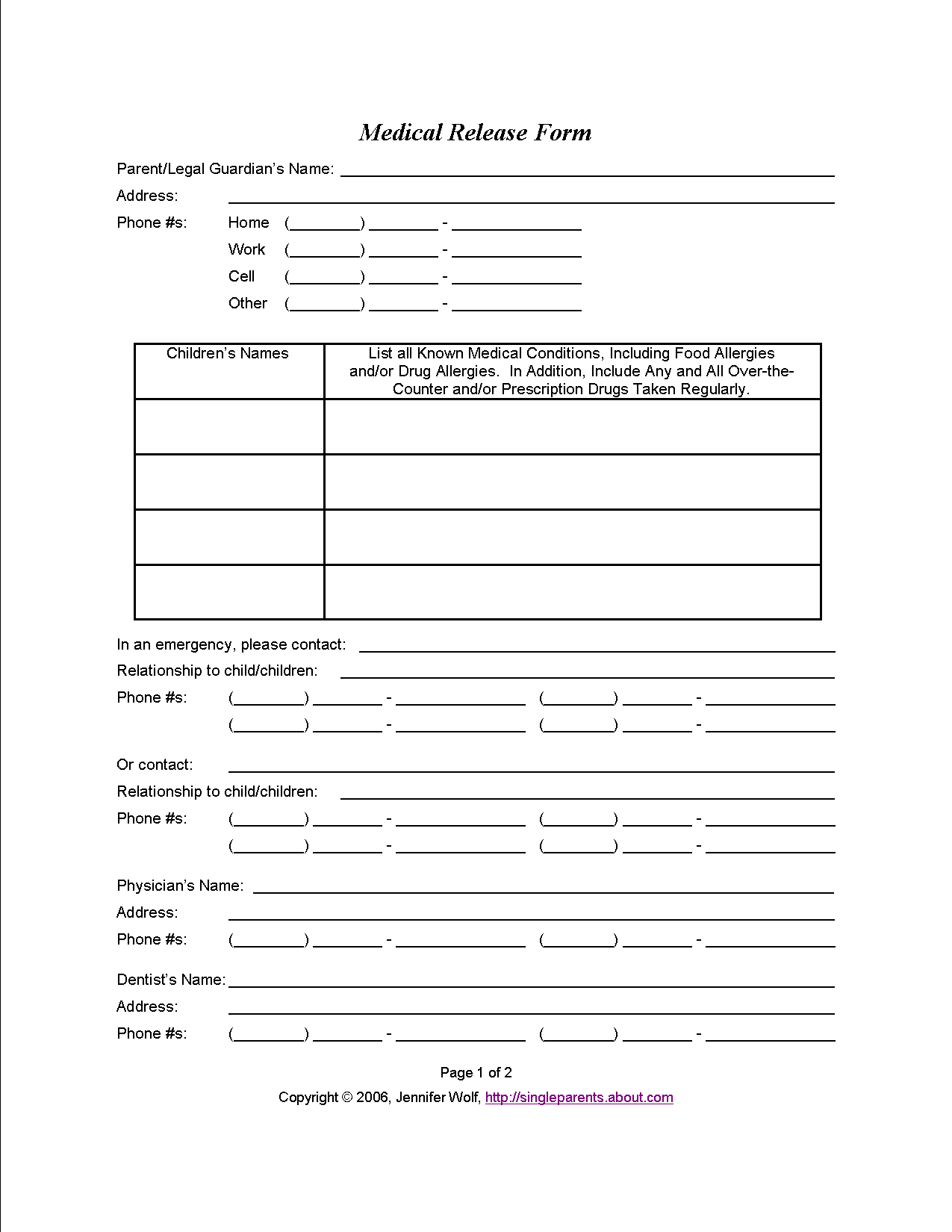 Use This Medical Release Form to Protect Your Kids in an Emergency – Work Release Form