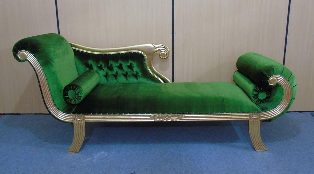 Edle Couch Recamiere Ottomane Im Antikdesign Mahagoni Gold