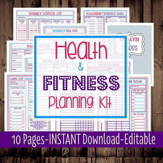 Health and Fitness Planning Kit-Fitness Planner-Diet-Weight Loss - fitness plan template