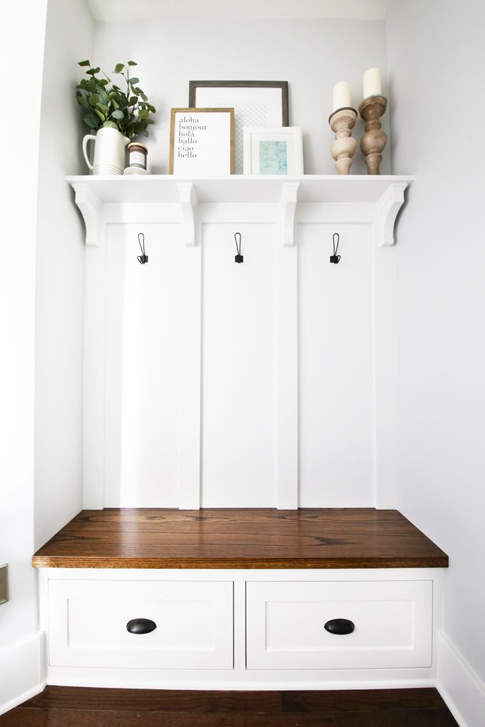 Built In Mudroom Bench Shelf And Coat Hooks Entryway Bench