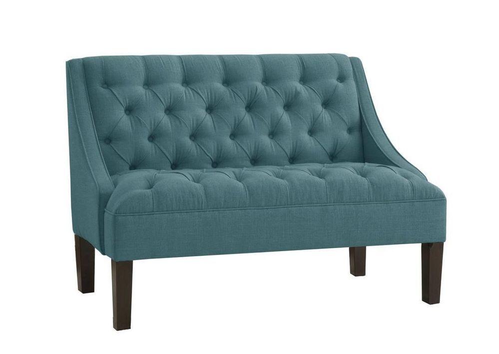 Skyline Furniture Tufted Swoop Arm Settee In Linen Teal