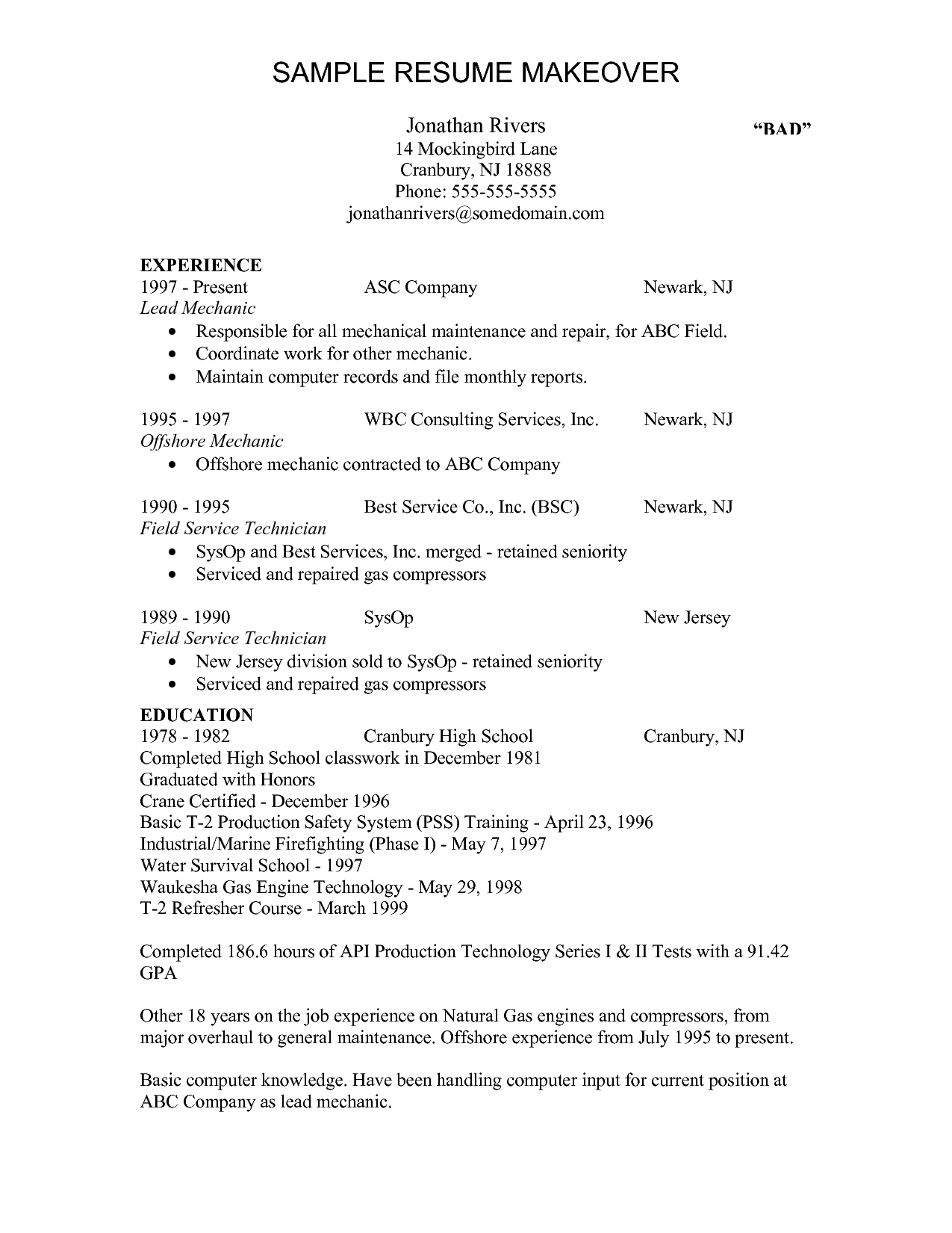 mechanic resume template interesting field service technician resume sample with experience - Entry Level Resume Examples And Writing Tips