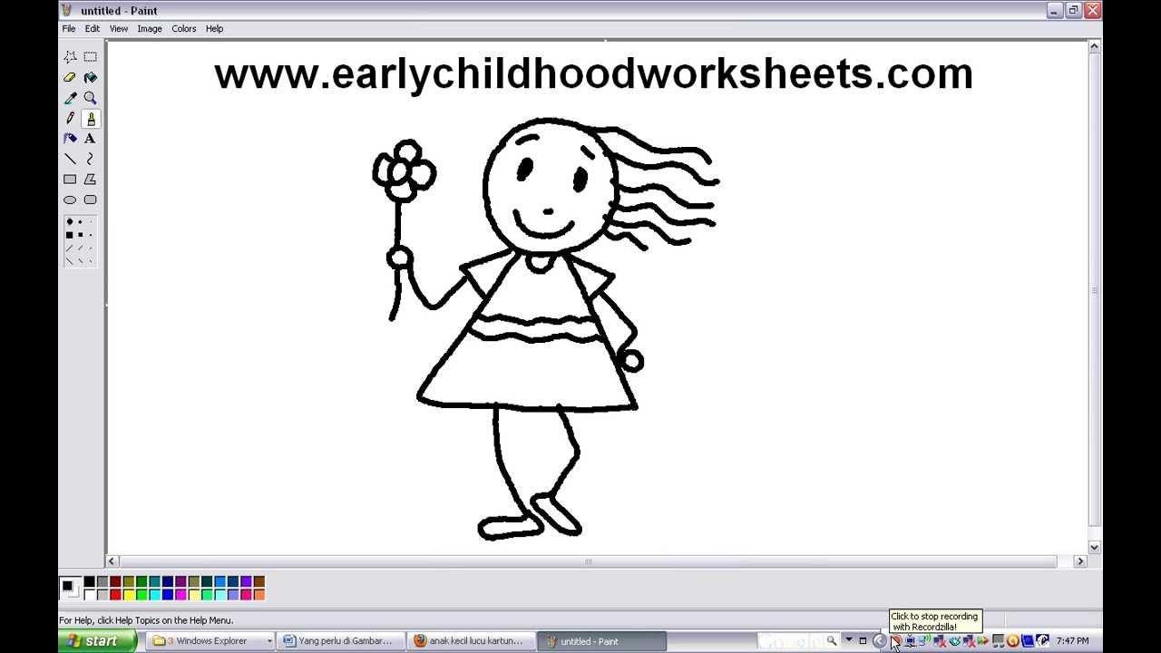 How To Draw People Girl Easy Step By Step For Kindergarten Children Drawing People Kindergarten Kids Drawings