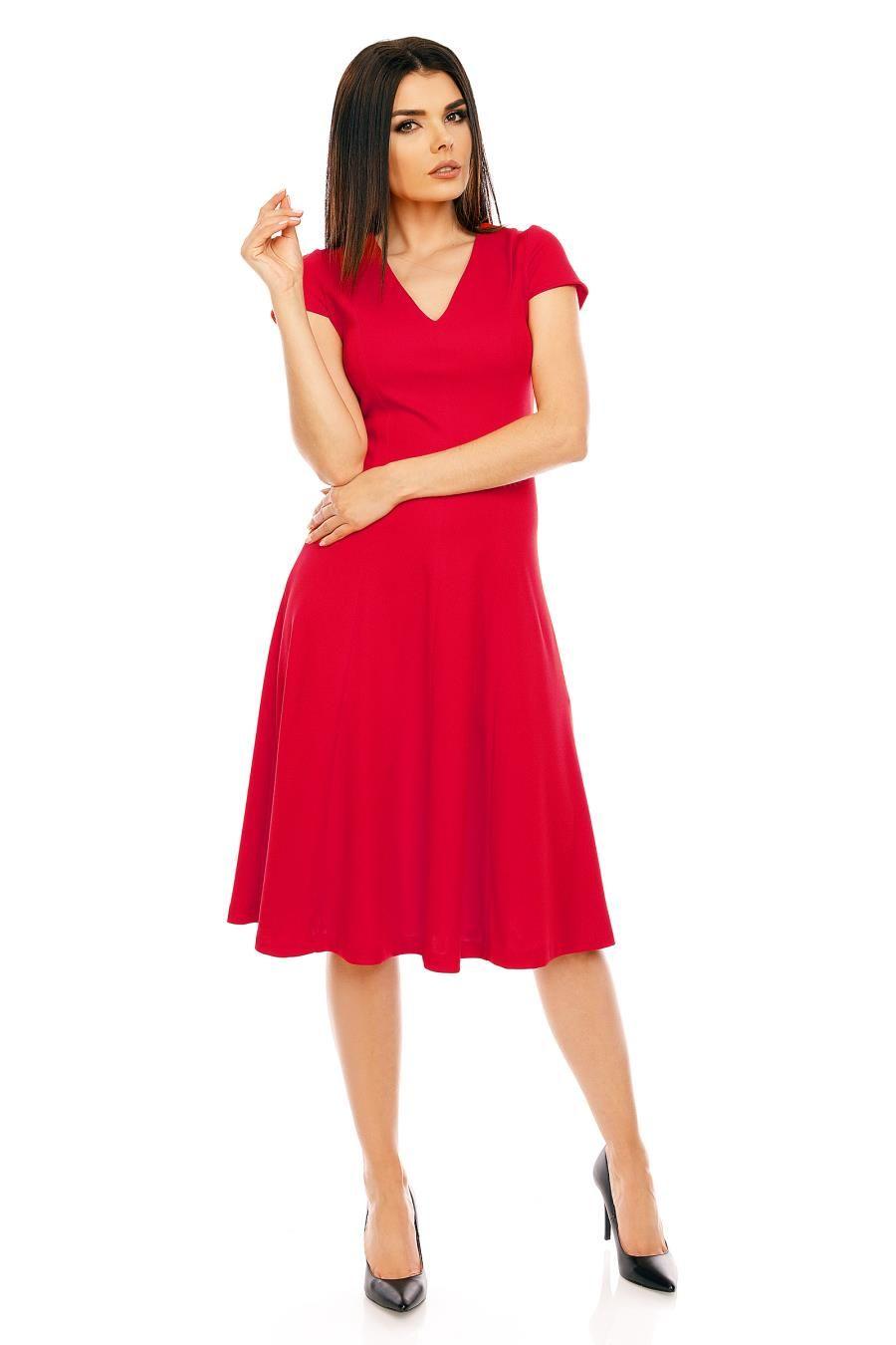 e3458c27a5698d Rozkloszowana Sukienka z Dekoltem w Serek Czerwona NA474   Sukienka ...