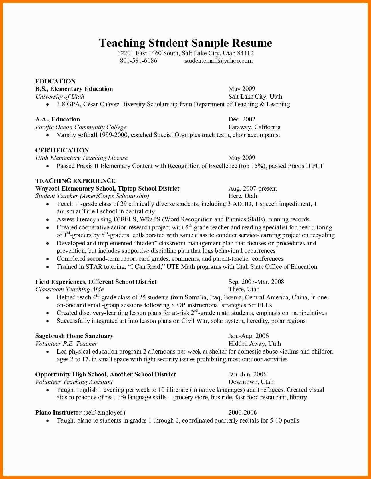 Sample Resume For Preschool Teacher Assistant Awesome 12 Sample Resumes Teacher Assistants